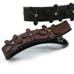 [EHA Premium] Alligator Hair Clip - GR 3 Leather Flowers