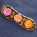 [EHA Premium] Hair Barrette - Hand Painted Orange & Pink Flowers