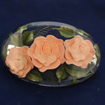 [EHA Premium] Hair Barrette - Handpainted Peach Flowers
