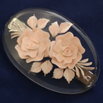 [EHA Premium] Hair Barrette - Handpainted Pale Peach Flowers