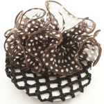 [EHA Premium] Bun Holder / Bun Cover - White & Brown Polka dots