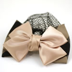 [EHA Premium] Bun Holder / Bun Cover - SR  Plaid Bow Beige