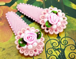 [E. Hair Accessories K] Kids Hair Clip Set - Pearl Flower