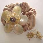 Elegance - Golden Yellow (Ponytail holder & Earring Set)