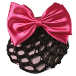 [EHA Premium A] Bun Holder / Bun Cover - TY Silk Bow  Hot Pink