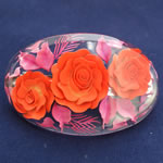 [EHA Premium] Hair Barrette - Handpainted Red Flowers with Pink Leaves