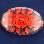 [EHA Premium] Hair Barrette - Handpainted Red Flowers