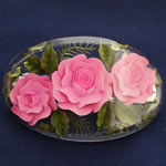 [EHA Premium] Hair Barrette - Handpainted Pink Flowers with Green