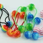 [EHA Premium] Ponytail Holders - Striped Balls