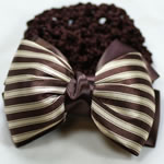 [E. Hair Accessories A] Bun Holder - Brown & Light Beige Stripes
